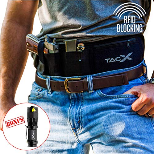 Belly Band Holster for Active Concealed Carry | Universal Design | IWB/OWB Pistol Belt | RFID Blocking Water Proof Zipper Gear Pocket | Spare Mag Pouch | Running, Hiking, Jogging, Travel