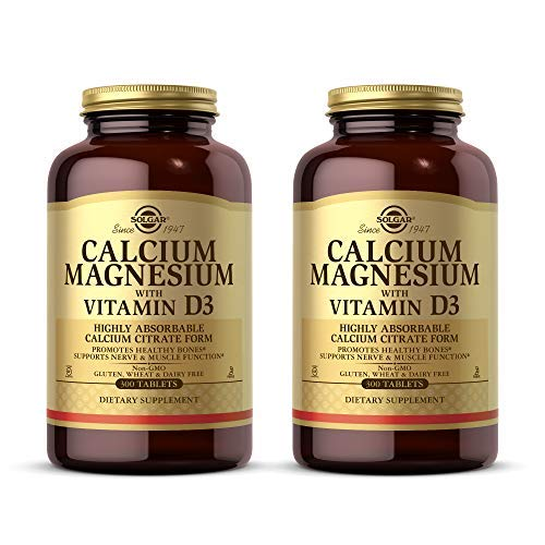 Solgar Calcium Magnesium w/Vitamin D3, 300 Tablets - Pack of 2 - Promotes Healthy Bones, Supports Nerve & Muscle Function - Highly Absorbable Form - Non-GMO, Gluten & Dairy Free - 120 Total Servings