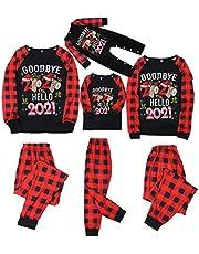 Pijamas Familiares de Navidad, Pijamas Dos Piezas Familiares, Ropa de Noche Homewear Camisas de Manga Larga Pantalones Tartán Largos Sudadera Invierno Conjunto de Pijamas Familiar