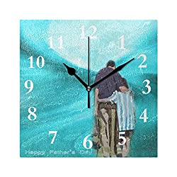 FunnyCustom Square Wall Clock Stylish Father's Day Theme 7.8 Inch Creative Decorative for Living Room/Kitchen/Bedroom