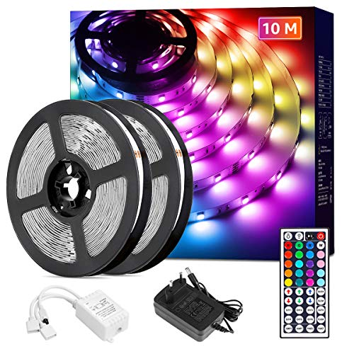 Lepro LED Strip 10M(2x5M), LED Streifen Lichterkette mit Fernbedienung, Band Lichter, RGB Dimmbar Lichtleiste Light, Lichtband Leiste, Bunt Kette Stripes für Party Weihnachten Deko