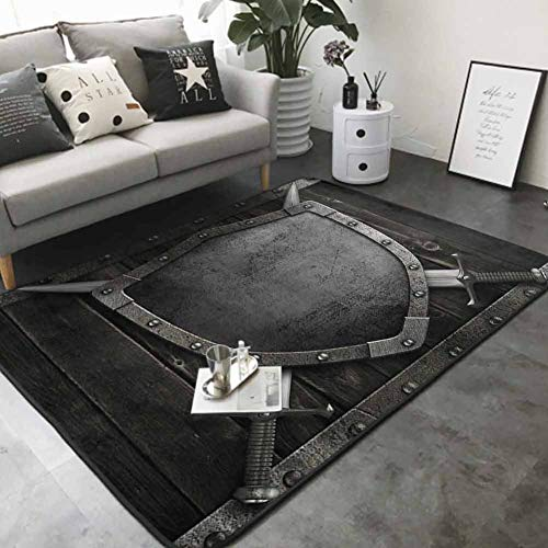 "Long Kitchen Mat Bath Carpet Medieval Shield and Crossed Swords on Wood Gate Safety Security Military Style 36""x 60"" Best Floor mats"