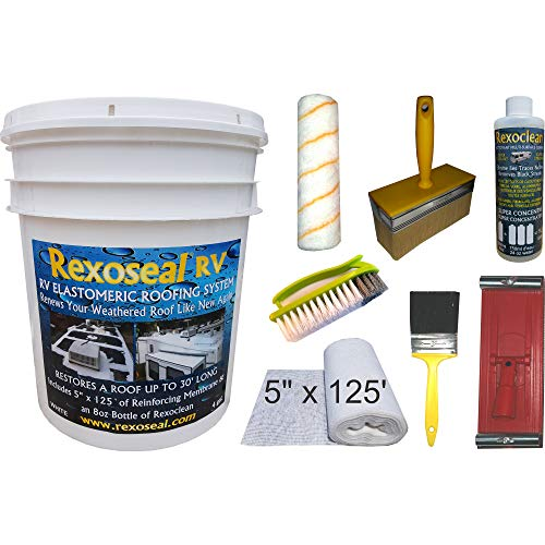 Rexoseal RV Roof Restoration Kit for RV's up to 30' Long - Waterproofing and Protective RV Roof Coating Sealant - White, 4 Gallons