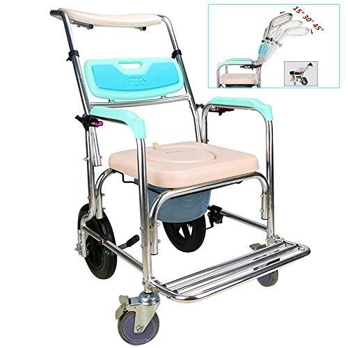 SGSG Commode Chairs 5in 1 Commode Chair/avec Chaise de Toilette à roulettes/Chaise de Transport pour Douche en Fauteuil Roulant / 4 Freins à Roues (360deg;) / Chaise d'aisance réglable Wheechair