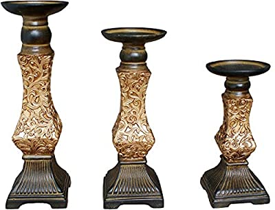 JIXIN Gold Pillar Candle Holders (Set of 3), Ideal for Home Decoration, Wedding and Anniversary from JIXIN