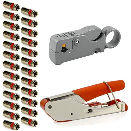 PremiumX Kompressionszange + Abisolierwerkzeug + 25 F-Stecker Kompressionsstecker Set für Sat Koaxial-Kabel Antennenkabel 6,8mm - 7mm - 7,5mm