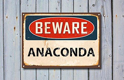 Fhdang Decor Beware Anaconda, Panneau en métal, Panneau Beware Signage, Beware Signe, Beware Signs, Beware Sign, Panneau Mural, Panneau de Style Vintage, Panneau d'avertissement, 20,3 x 30,5 cm