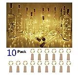 Lot de 10 bouteilles de 20 LED 2 m Blanc chaud Cork String Bouteille de vin Fée Mini fil de cuivre, lumières étoilées alimentées par piles pour DIY Noël, Halloween, mariage, fête d'intérieur