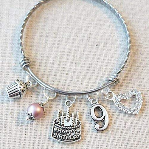 9th BIRTHDAY Bracelet, 9th Birthday Charm Bracelet, 9 Year Old Daughter Birthday Gift Idea, Ninth Birthday Gift, 9 Year Old Birthday Bangle
