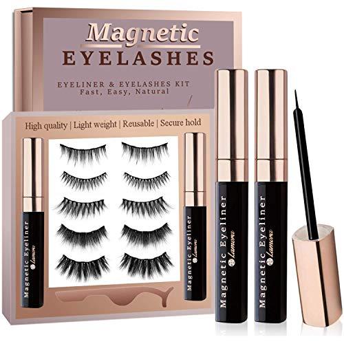 Magnetic Eyelashes with Eyeliner Kit, 5 Pairs Reusable Magnetic Lashes Set with 2 Big Tubes Magnetic Eyeliner, Free Tweezer Applicator, Mirror & Protective Gift Storage Box