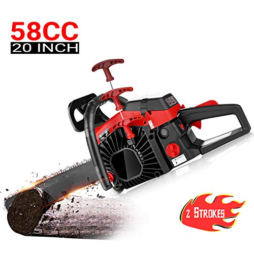 Best Prices! dessen 20 Inch Chainsaw 58CC Gas Powered Chain Saw, 2 Strokes 3.5HP Petrol Woodcutting ...