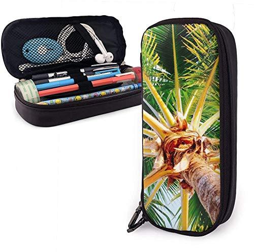 Jamaikanischer Kokosnussbaum-PU-Leder-Federmäppchen, großes Fassungsvermögen, langlebige Stifttasche, Schreibwaren-Organizer mit doppeltem Reißverschluss, elastische Gürtel für Schule und Büro