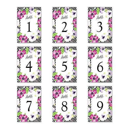 "Purple Floral Table Numbers Stripe Border 25 Pack All Occasion Centerpiece Accessories Graduation Wedding Anniversary Office Coworker Retirement Decorations Single Sided 4"" x 6"" Set DB Party Studio"