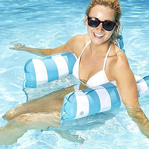 MQW Piscina de agua de mar de juguete para adultos con respaldo plegable de doble fila flotante, sofá de cama flotante de 130 x 65 cm (color: azul)