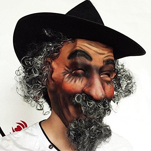 GoaEin Novelty Halloween Mask Simulation Wig Curly Hair Fake Beard Green Latex Hat Masquerade Party Performance Mask