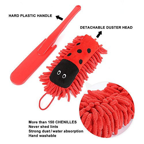 Microfiber Hand Duster, Microfiber Dusting Brush with Hand Washable Detachable Duster Head & Plastic Handle for Furniture / Home Appliance / Office Computer / Car Dash Seat Dust Cleaning (Red)