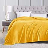 EXQ Home Fleece Blanket King Size Yellow Throw Blanket for Bed or Couch - Microfiber Fuzzy Flannel Blanket for Adults or Kids
