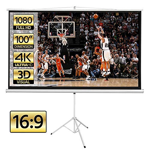 Yaheetech Projector Screen with Stand Height Adjustable Indoor Outdoor 100 Inch 16: 9 Fast Folding Portable Tripod Projection Screen Movie Screen