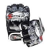 QJSTDM Black Devil Leather Half Finger Boxing Fitness MMA Guantes Deportivos Tiger Muay Thai Boxe Thai Glove Box Fight Sanda Pads MMA