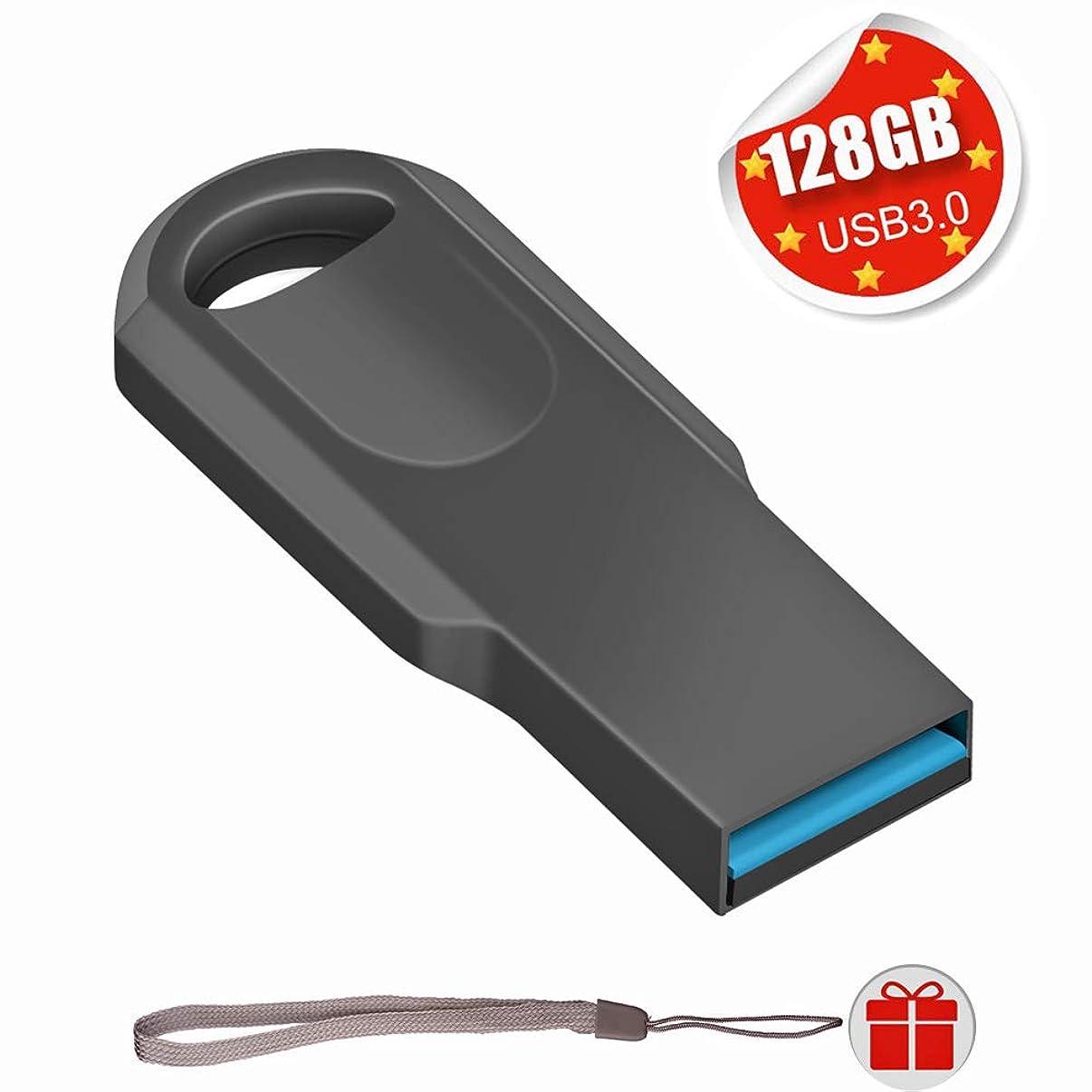 128GB Flash Drive USB 3.0, EASTBULL Thumb Drive Memory Stick High Speed USB Metal Flash Drive Pen Drive for Data Storage, Waterproof & Shockproof USB Drive with Lanyard (1PCS-Grey)