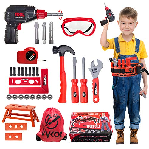 Vykor 35 Pieces Of Children's Tool Toy Electric Drill Set,Handmade Toys With Screwdriver Nuts And Wrenches,Christmas Set For Children Ages 3+ Years Old