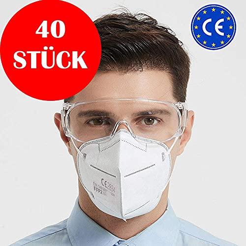 Simplecase FFP2 Maske, Atemschutzmaske, Partikelfiltermaske, EU CE Zertifiziert von Offiziell benannter Stelle CE2834 – 40 Stück, WEIß MS-2004-20212 - 8