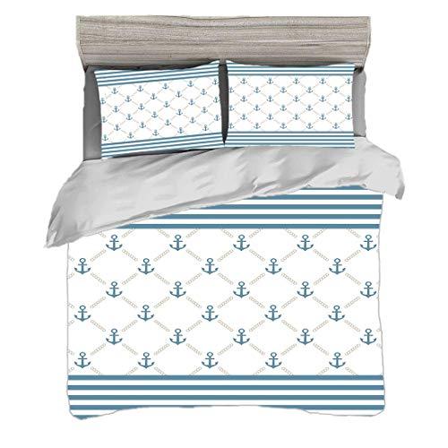 Bettwäscheset King Size (220 x 240 cm) mit 2 Kissenbezügen Anker Mikrofaser-Bettwäsche-Sets Blue Stripes Frame mit abstrakten Streifen und Kettenfiguren Symmetrisches Muster,Slate Blue White,Pflegelei