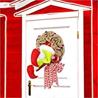 Fenshine クリスマスデコレーショングリンチ風リースクリスマスバーラップリースサンタクロースホームドアハンギングデコレーション