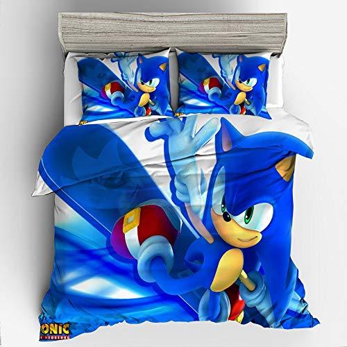 Sonic copripiumino set di biancheria da letto per bambini con stampa di cartoni animati 3D di Sonic the Hedgehog 2 pezzi, incluso 1 copripiumino e 1 federe (SNK07, singolo 135 x 200 cm)