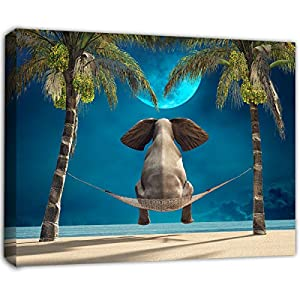 Bathroom-Decor Resting Elephant Pictures Artwork-Paintings can be Hung in Bedroom Study