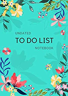 Undated To Do List Notebook: A4 Daily Checklist Planner Large with Top Priorities and Hourly Time Slots   Floral and Shadow Design Turquoise