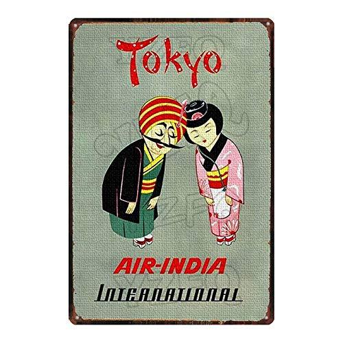 ayingzhenxiao Cartel de Metal de Sushi de Comida Japonesa, Cartel de Chapa Ukiyoe, Bar, Restaurante, Tienda de casa, decoración, Placa de Metal, Recuerdo de Viaje, 20x30cm DU-6110