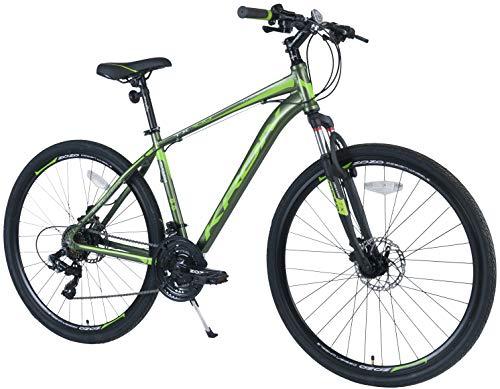 KRON TX-100 Aluminium Mountainbike 28 Zoll   21 Gang Shimano Kettenschaltung mit Scheibenbremse   16 Zoll Rahmen MTB Erwachsenen- und Jugendfahrrad   Oliv Grün