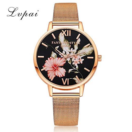 Powzz - Reloj de pulsera con diseño de malla, color oro rosa
