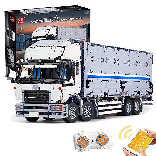 Mecotecn Technik LKW Bausteine Modell mit Container, Transporter Autos Bausteine Bausatz mit 2,4 GHz Fernbedienung und APP-Steuerung, 4166Teile Konstruktionsspielzeug Kompatibel mit Lego Technic