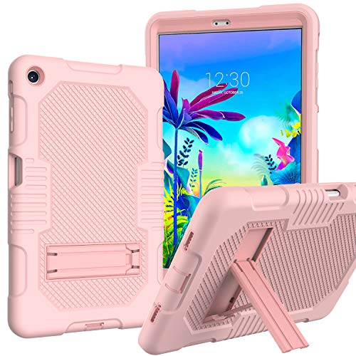 JSUSOU Case for LG G Pad 5 10.1 FHD | Case for Kids Three Layer Full-Body Shockproof Rugged Soft Silicone Protective Case with Kickstand Case Cover for LG G Pad 5 10.1 FHD (2019) | Rose