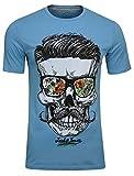 JACK & JONES Herren T-Shirt JORsoytan Tee SS Crew Neck Skull Print, (Norse Blue,XXL)