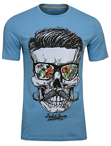 JACK & JONES Herren T-Shirt JORsoytan Tee SS Crew Neck Skull Print, (Norse Blue,XL)