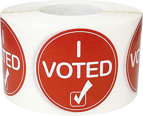'I Voted' Check Mark Labels, 1.5' Circle Election Day Stickers, 500 Pack