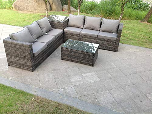 Fimous 6 Seater Grey Rattan Corner Sofa Set 2 Table Outoor Garden Furniture