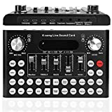 Live Sound Card, Bluetooth Voice Changer Mini Sound Mixer Board, Multiple Sound Effects Audio Box Live Streaming Karaoke Broadcast Recording, Audio Mixer for Music Recording Mobile Phone Computer