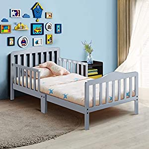 Costzon Toddler Bed, Classic Design Rubber Wood Kids Bed w/Double Safety Guardrail for Children Bedroom Furniture, Kids Room, Parent Room, Fits Crib Mattress, Gift for Toddler Boys & Girls, Gray