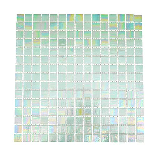URBN Contemporary Seafoam Green Iridescent Glass Mosaic Tile for Kitchen and Bath - Single Sheet (13 inches x 13 inches, 1.15 SQ FT)