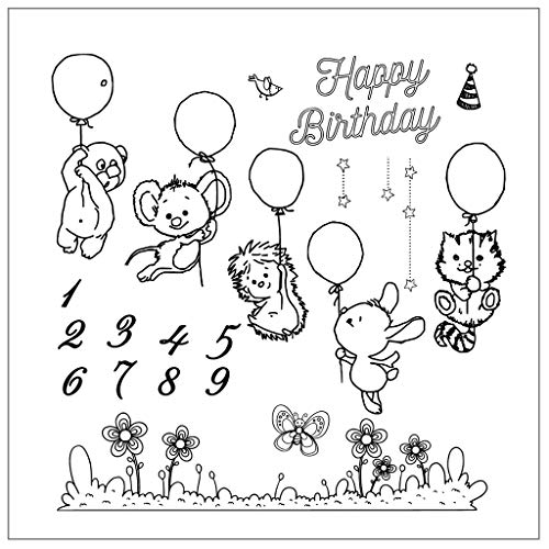 Xurgm Happy Birthday Clear Stamps -Silikon Stempel - Prägung Stempel - DIY Dekoration Stanzen - Stempel Silikon - DIY Stamp - Stempel Prägung - Made in China