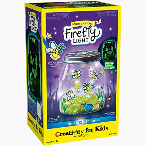 Creativity for Kids Make Your Own Firefly Light Craft Kit - Build a Play and Pretend Shrink Fun Indoor Lightning Bug Jar, Multi