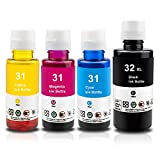 Xemax Compatible Refill Dye Ink Bottle Replacement for HP 31 32XL Work for HP Smart-Tank Plus 455 555 570 655 Wireless All-in-One Ink-Tank Printer, 135ml Black, 70ml Cyan/Magenta/Yellow, 4 Bottle