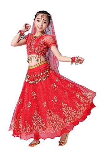 Mädchen Bauchtanz Outfit Kostüm indische Tanzkleidung Oberteil + Rock+ Gürtel + Hijab+ Kopfbedeckung Rot 145CM-155CM