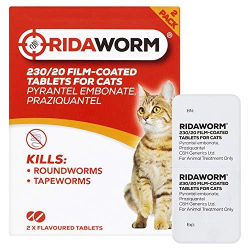 Ridaworm Pastillas con Sabor a Gato, un tamaño, Paquete de 2