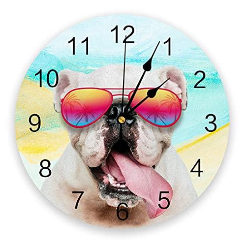 Reloj de pared de animales, relojes de pared silenciosos de PVC de 9,8 pulgadas que no hacen tictac, reloj colgante para cocina, sala de estar, entrada, escuela, oficina, Bulldog con gafas de sol en e