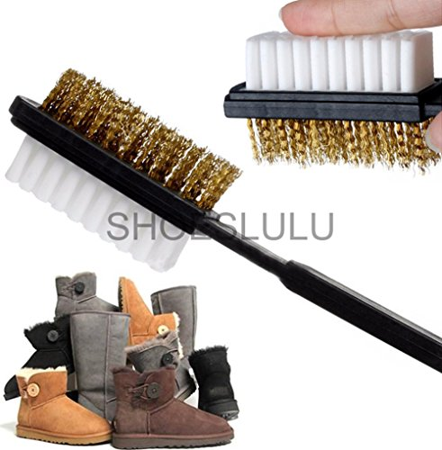 Shoeslulu Suede & Nubuck 2 Ways Leather Larger Brush Cleaner (1 Pack, Longer Wires [Larger Surface])